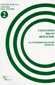 Cognition, Brain, Behavior. An Interdisciplinary Journal (June 2013) - Autori multipli