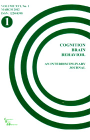 Cognition, Brain, Behavior. An Interdisciplinary Journal (March 2012) - Autori multipli