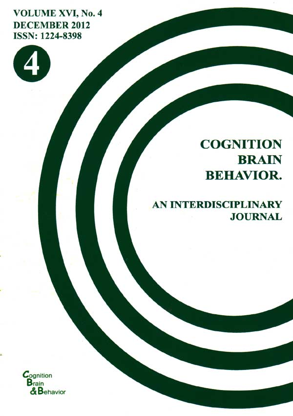 Cognition, Brain, Behavior. An Interdisciplinary Journal (December 2012) - Autori multipli