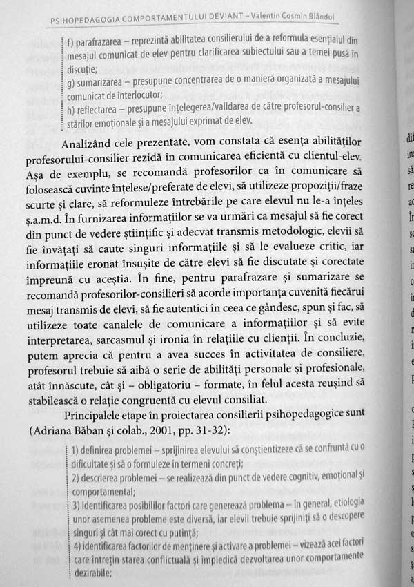 Psihopedagogia comportamentului deviant - Valentin Cosmin Blandul