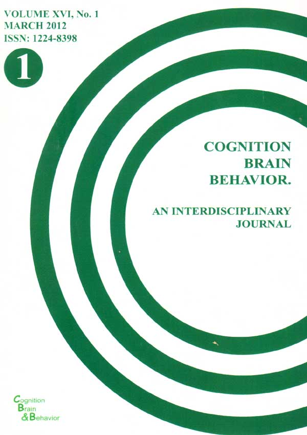 Cognition, Brain, Behavior. An Interdisciplinary Journal (March 2012) - Autori multipli